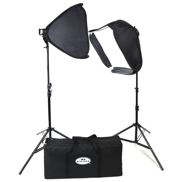 KIT ILLUMINAZIONE CON DUE LUCI DA STUDIO LED 700 WATT CON SOFTBOX